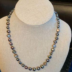 Silver gray bead necklace